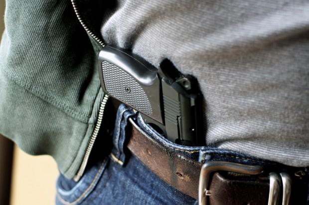 Pistol hidden in belt